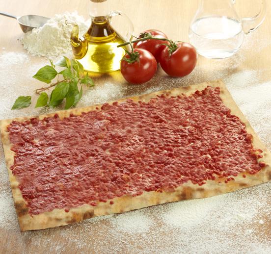 Base de pizza con tomate 26x38cm